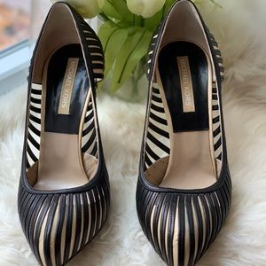 Sexy Michael Kors Stripe Leather Heels Black Nude
